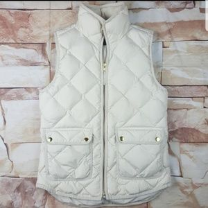 J.Crew down filled ivory puffer vest with gold